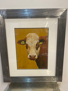 Original Art Cow Framed Cow Painting