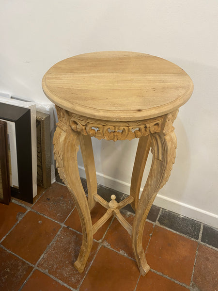 Carved Wood Plant Stand