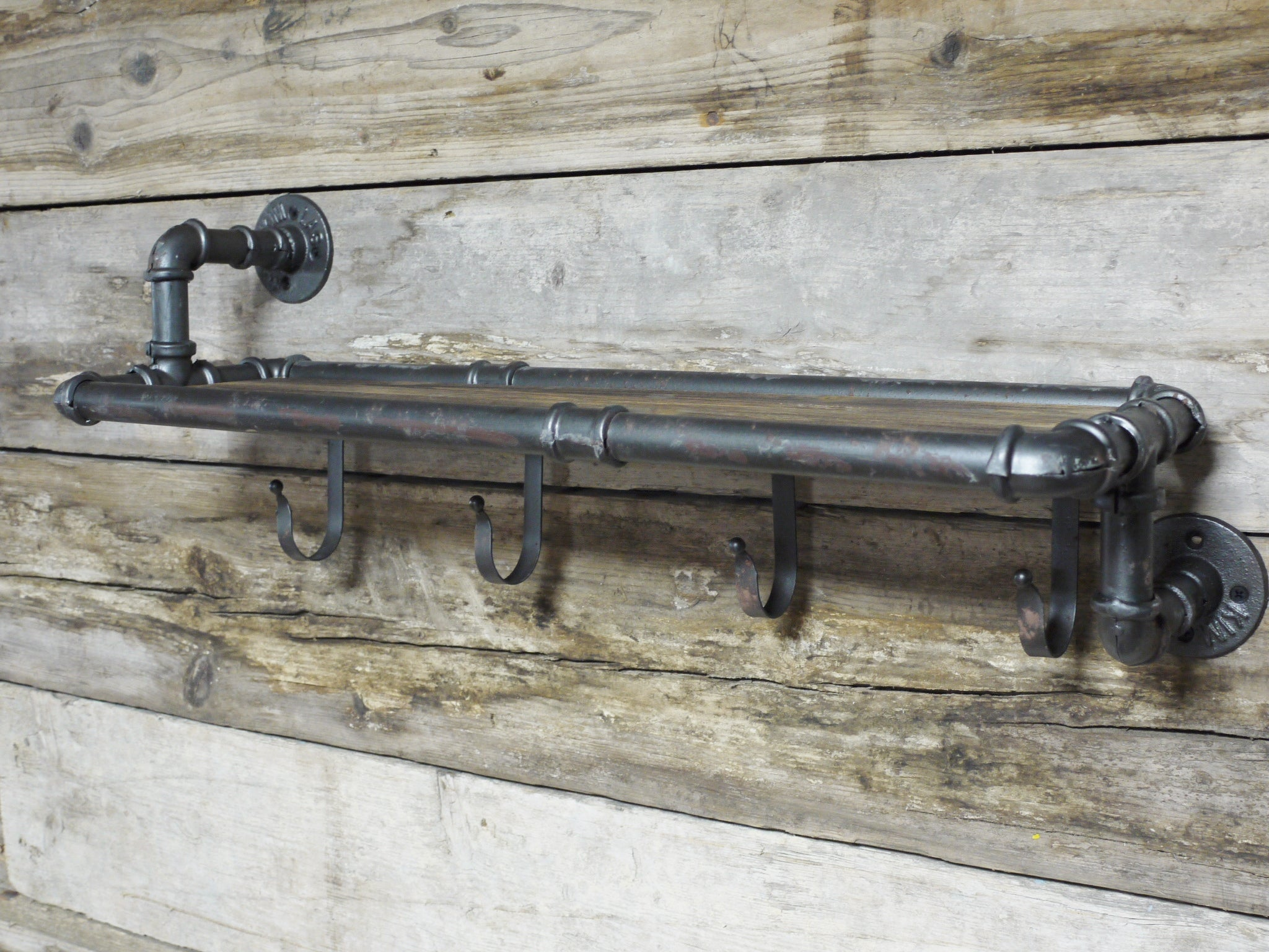 pipe coat hooks with wood shelf