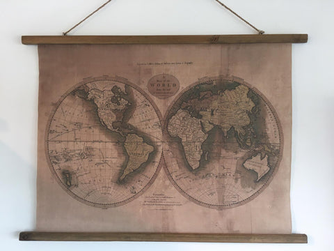 Hanging canvas depicting map of the world