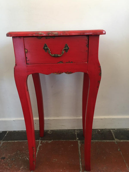 Side table with single drawer and swept legs (in red)  £130 for pair SALE