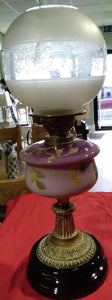 Oil lamp with hand painted bowl complete with original shade and globe