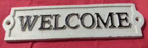 Cast Iron 'Welcome' Sign