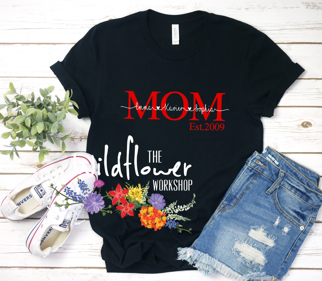 Personalized Mom Shirt With Kids Names The Wildflower Workshop
