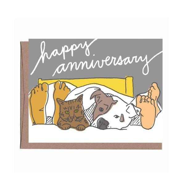 Pets in Bed Anniversary Card