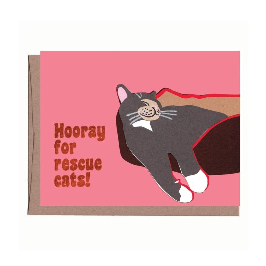 Hooray for Rescue Cats Greeting Card