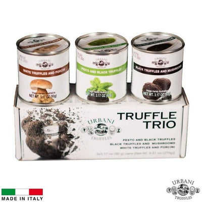 Truffle Sauce Thrills TRIO: Black Truffles and Mushrooms, Porcini and Truffles, Pesto and Black Truffles. 3.17oz Each. - Urbani Truffles
