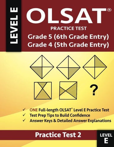 Olsat Practice Test Grade 5 (6Th Grade Entry) & Grade 4 (5Th Grade Entry)-Test 2: One Olsat E Practice Test, Gifted And Talented 6Th Grade & 5Th Grade ... 5 Test For Sixth Grade Entry, Otis-Lennon