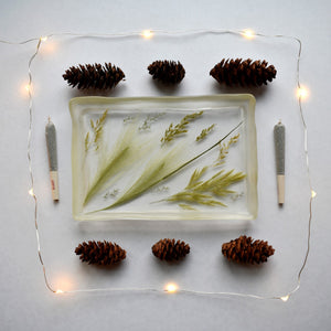 Limited Edition - Prairie Rolling Trays – Made of clear resin filled with prairie grasses.