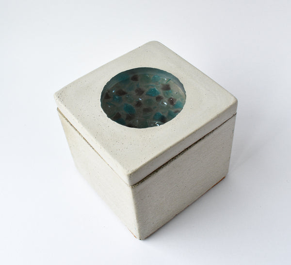 Dunnottar Storage Block – Handmade cannabis storage container made of concrete and clear resin filled with blue and purple crushed glass.