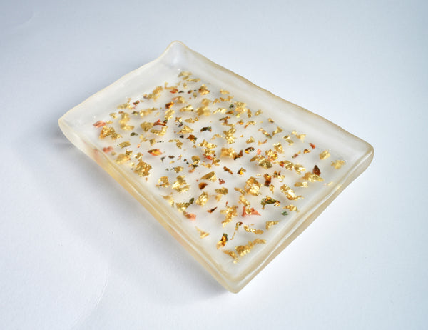 Autumn Rolling Tray - Clear resin filled with gold and prismatic flakes