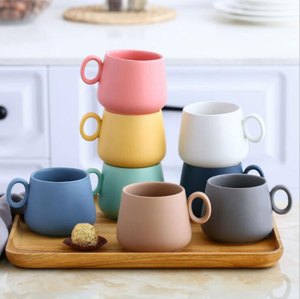 Macaron Color Mug Matte Ceramics Coffee Cup Breakfast Cup Big Belly Milk Cup
