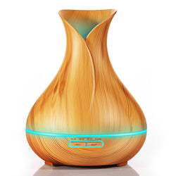 Aroma Essential Oil Diffuser Ultrasonic Air Humidifier with Wood Grain 7 Color Changing LED Lights for Office Home