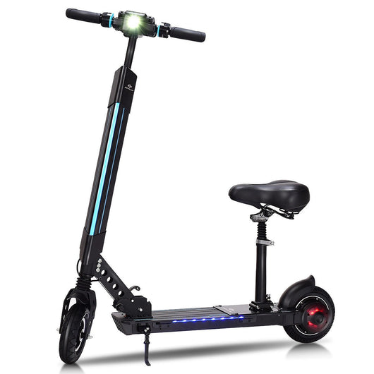 Foldable Electric Scooter with Removable Seat LED Bluetooth