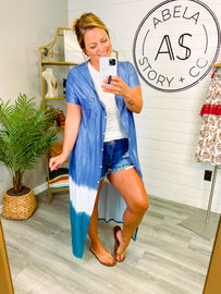 Run this Town Button Up Duster Cover Up - Blue