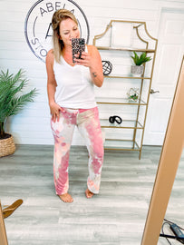 Time to Chill Out Tie Dye Terry Knit Pants - Mauve