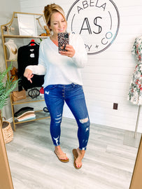 Don't Hold Back Button Up Distressed Skinny Jeans