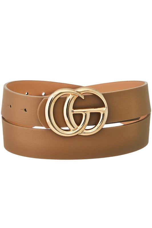 Double Metal Ring Faux Leather Belt - Taupe