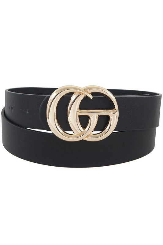 Double Metal Ring Faux Leather Belt - Black