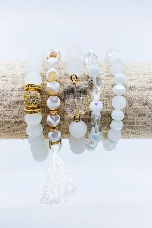 Five Strand Glass and Semi Precious Tassel Bracelet Set