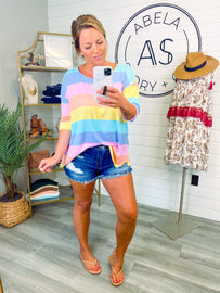 Color Me a Rainbow Striped Color Block Top