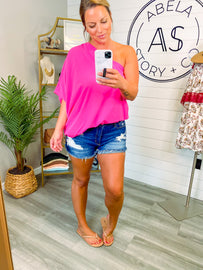 Someday Soon One Shoulder Top - Fuchsia