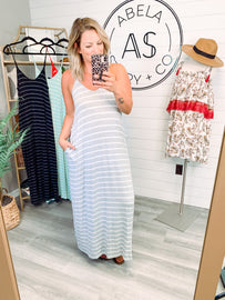 All the Stops Striped Spaghetti Strap Maxi - H Grey/Ivory