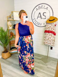 Feeling Special Floral Solid Contrast Dress - Navy