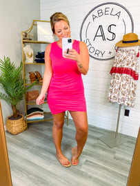 Late to the Party Sleeveless Shirred Dress