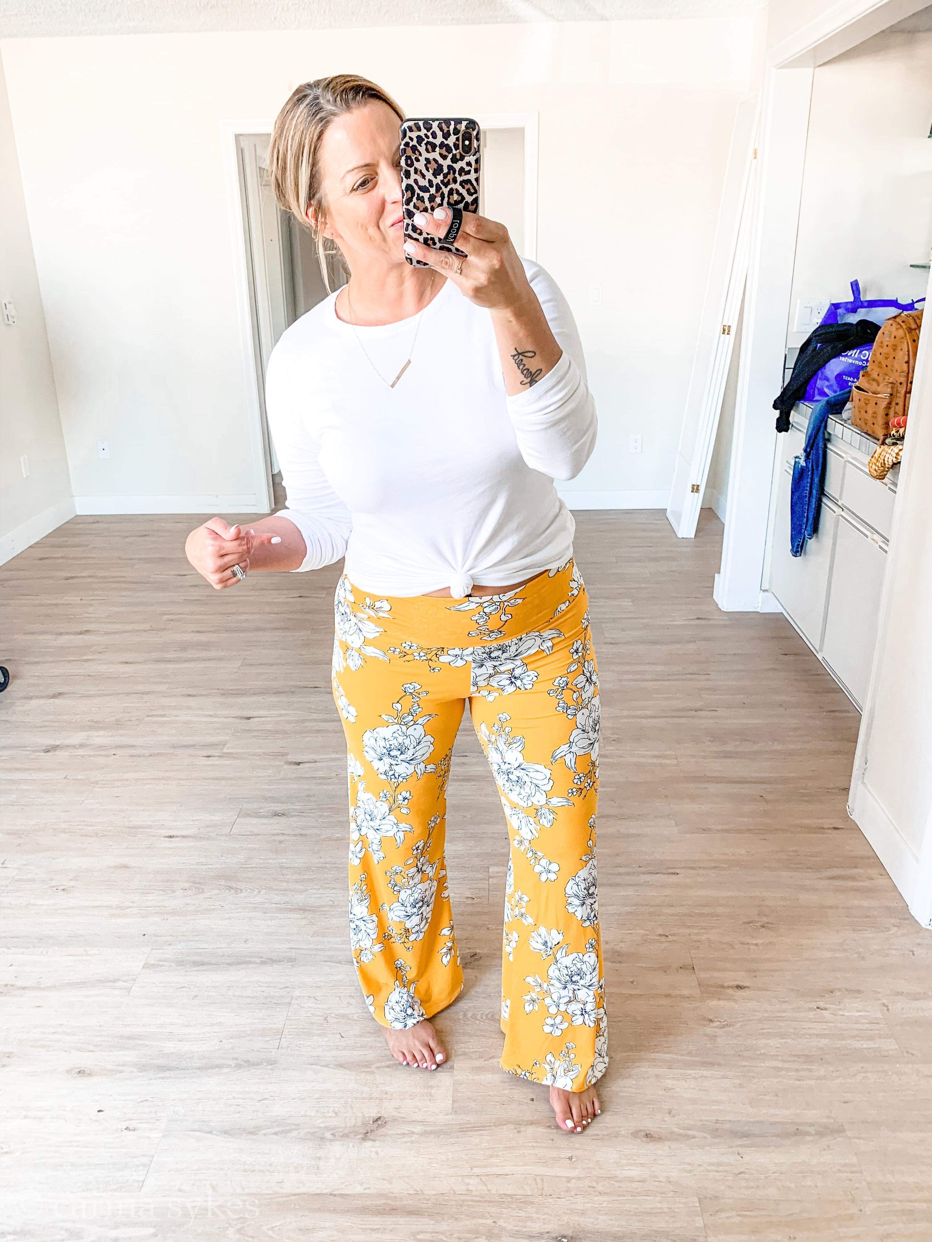 Abela Netflix and Chill Lounge Pants - Mustard/Ivory Floral