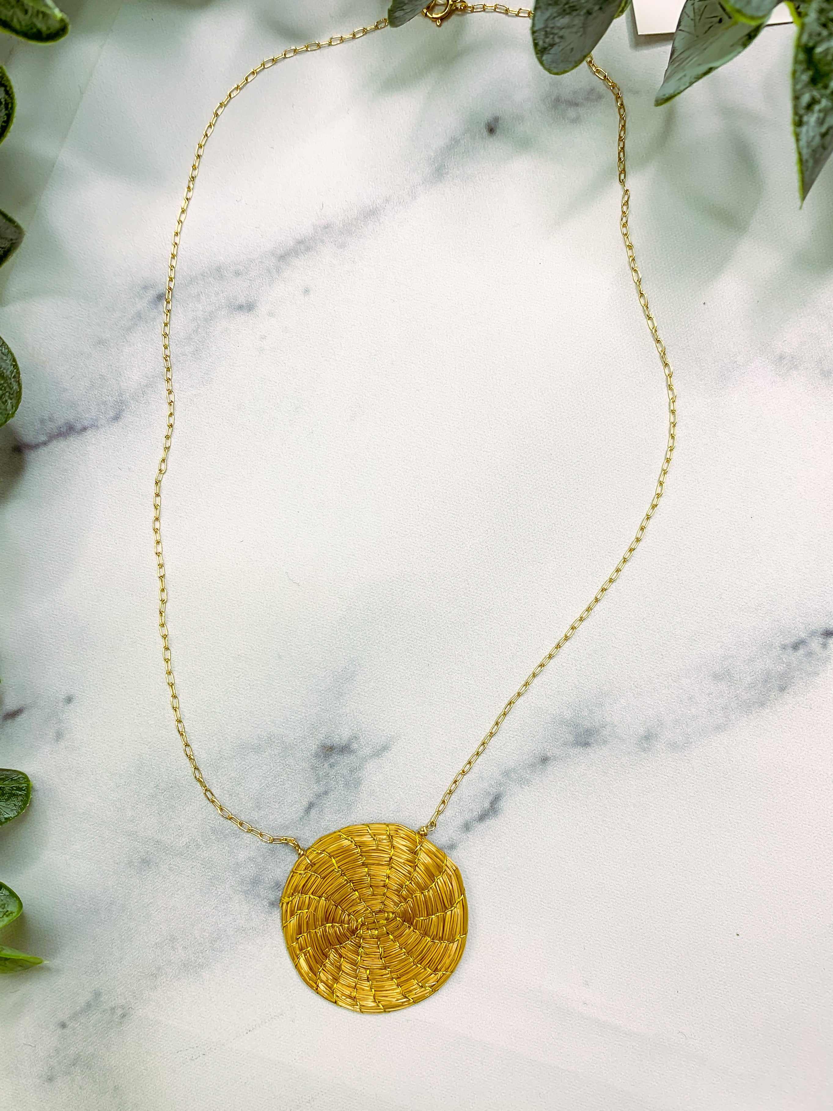 CA47 Gold Grass Necklace