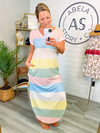 Sweet Summer Vibes Color Block Dress
