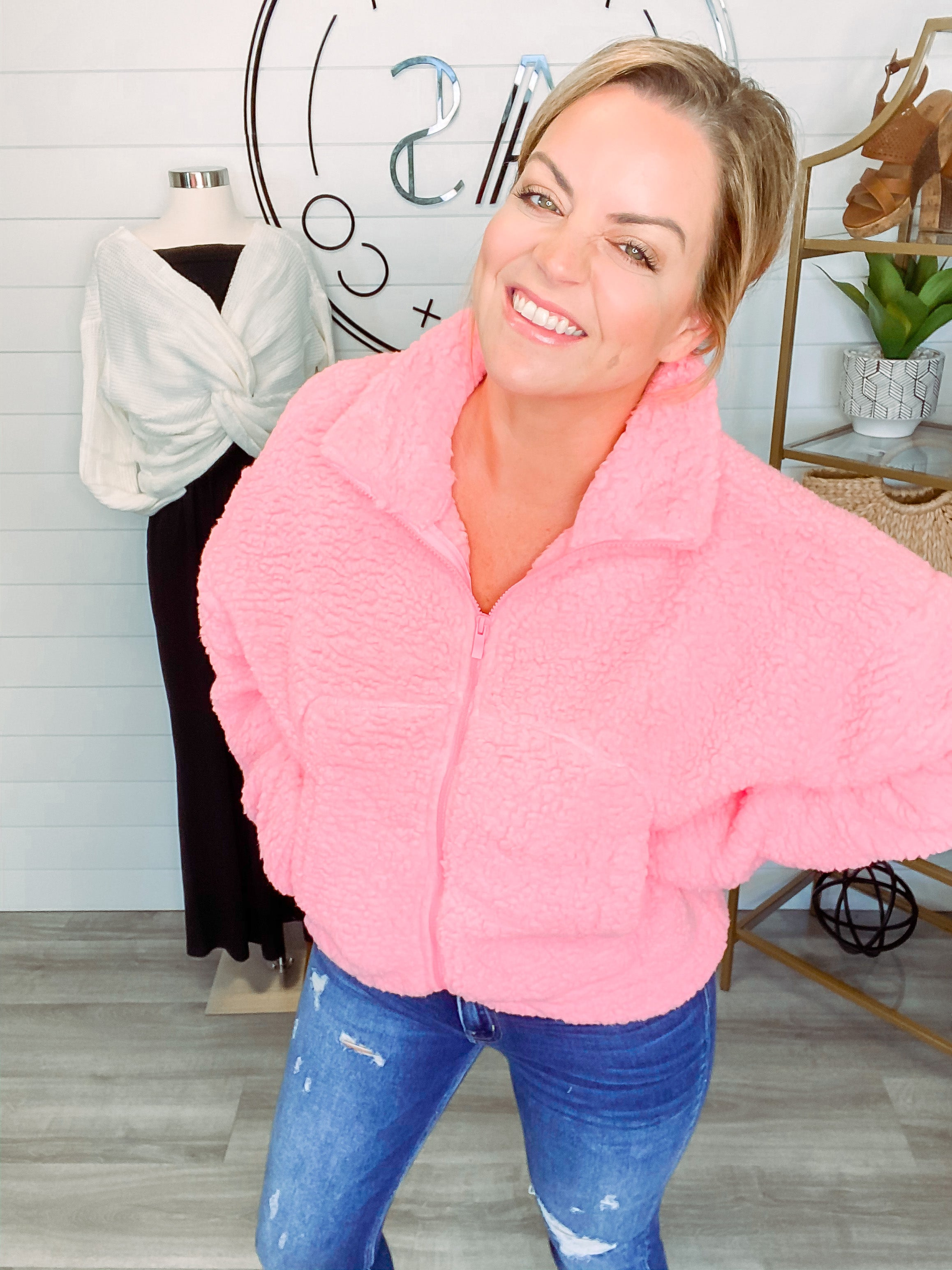 Crazy Fur You Soft Sherpa Drawstring Jacket - Bright Pink