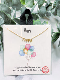 """""""Happy"""" Gold Necklace"""