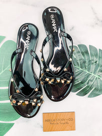 Bow and Behold Bowtie Sandals - Black