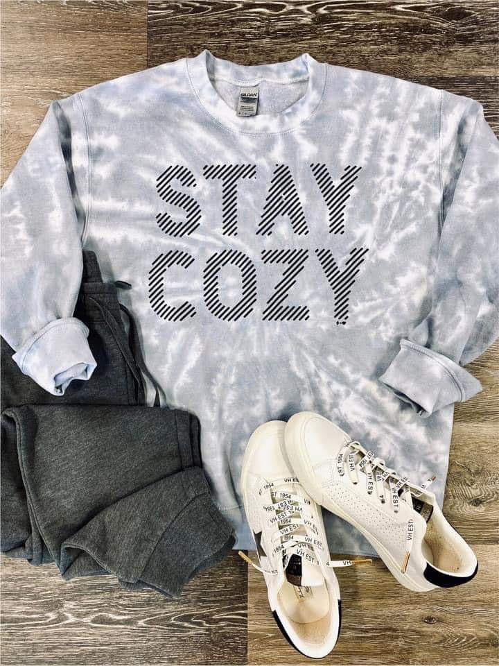 Stay Cozy Long Sleeve Graphic Pullover- Grey PRE SALE *Final Sale*