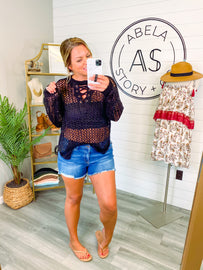 Don't Mesh with Me Crochet Sweater - Black