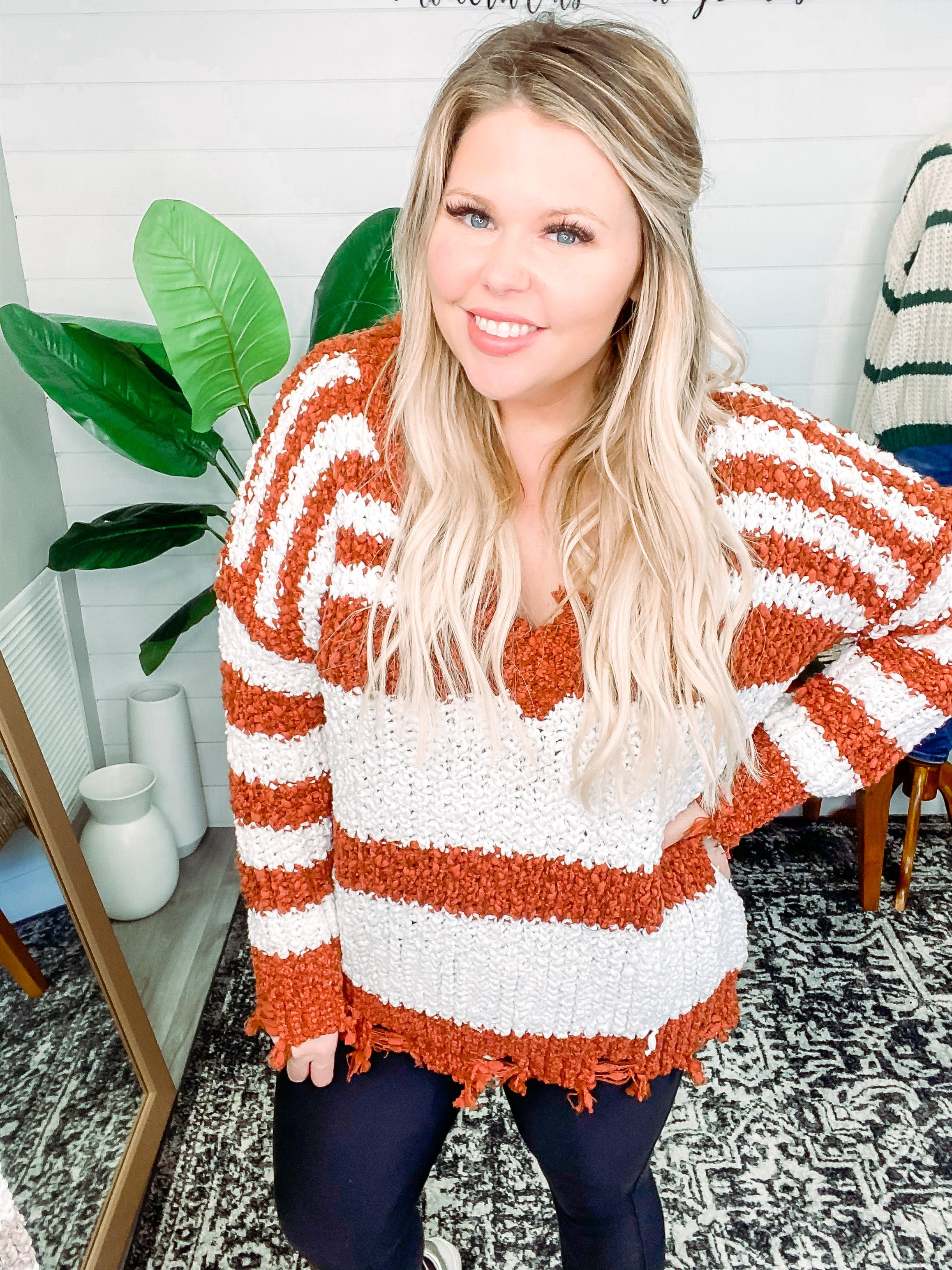 New Year New View Striped Sweater Top - Rust