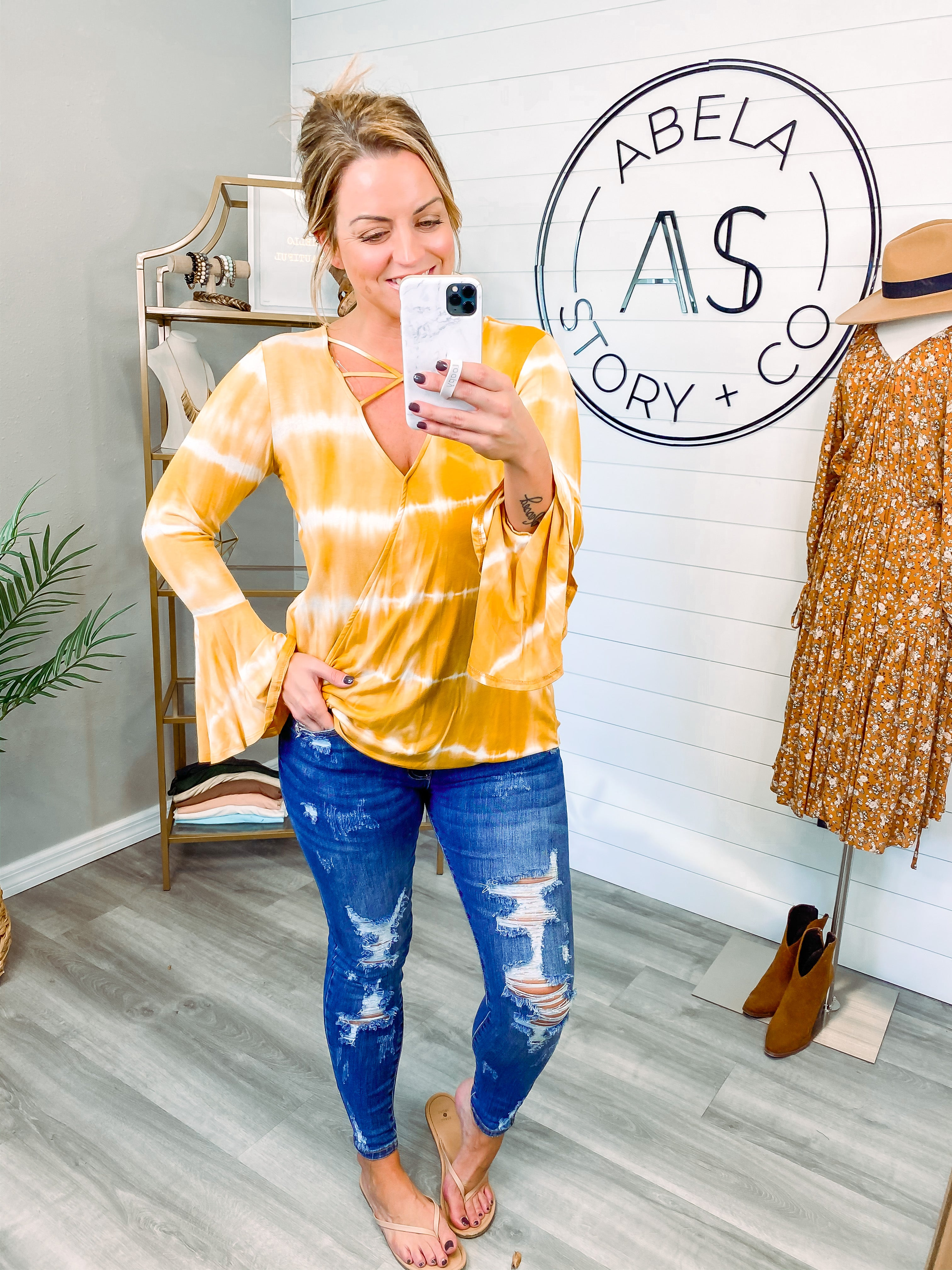 Bring the Sunshine Bell Sleeve Top
