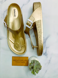 Leigha Buckle Side Slip On Sandals - Gold