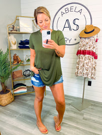Dionne Loose Fit Short Sleeve Top - Army Green