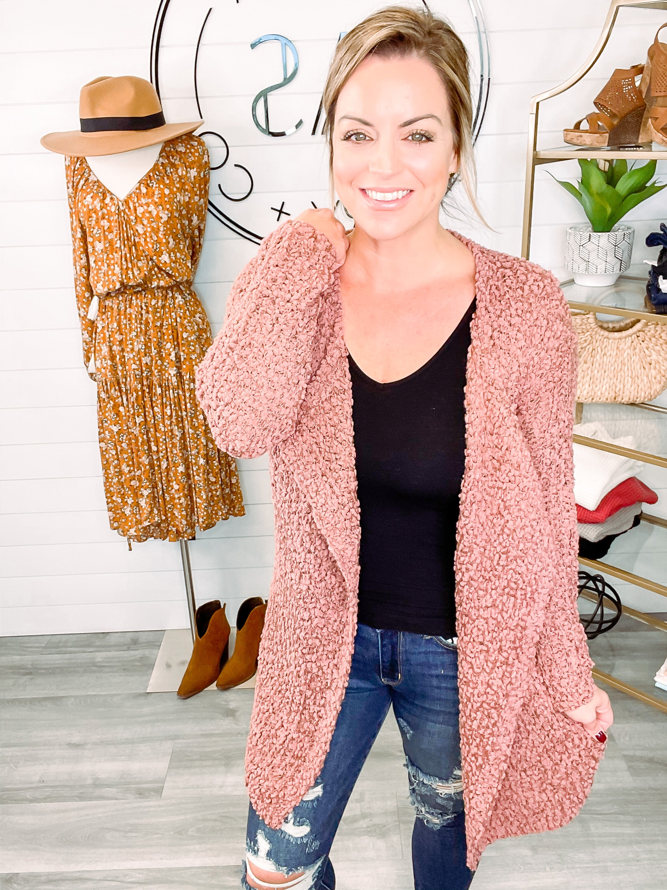 Easily Loved Textured Knit Open Front Cardigan - Red Bean