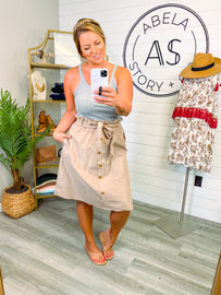 Little Miss Button Down Skirt - Taupe