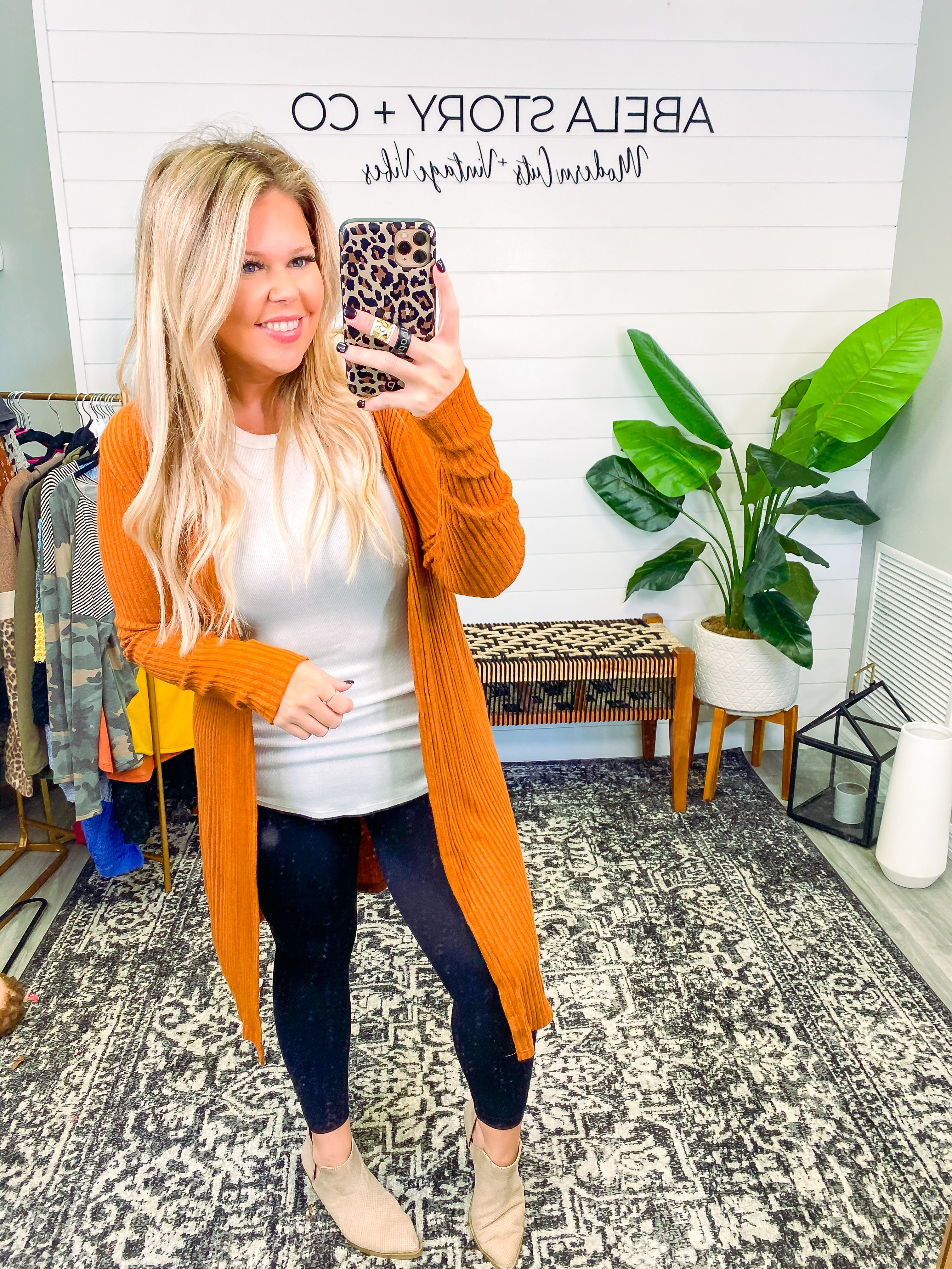 Favor Me Long Sleeve Rib Knit Open Front Cardigan - Rust