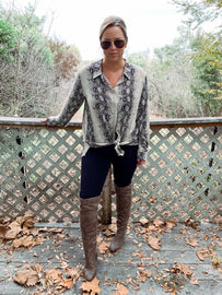 Taupe Distressed Over The knee Boot