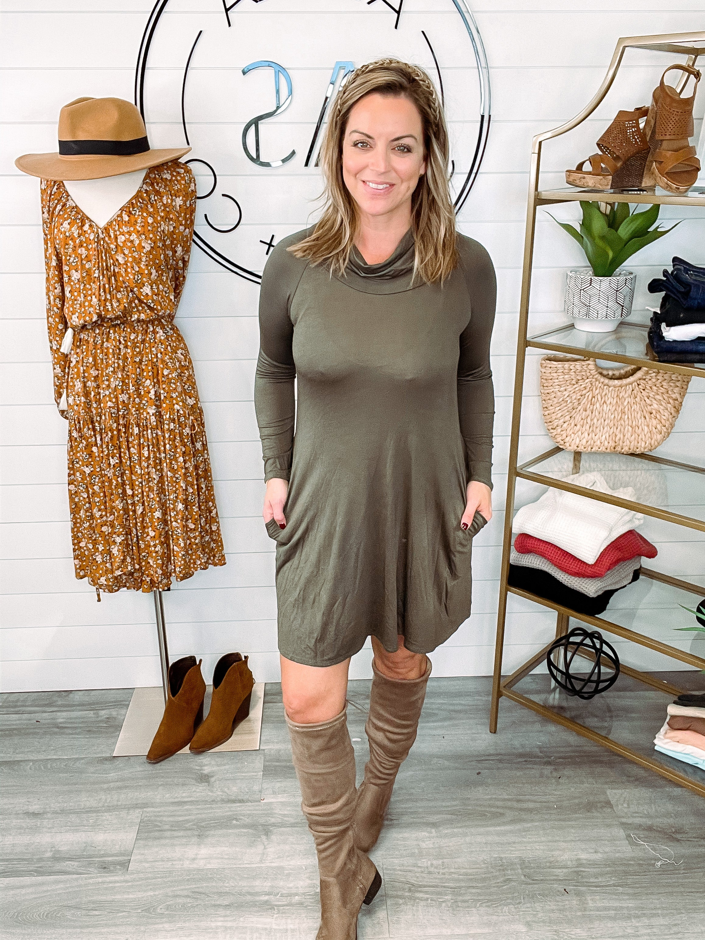Style Expedition Cowl Neck Pocket Dress