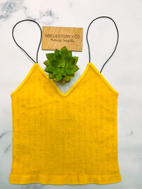 Noah Vintage Ribbed Crop Top - Sunflower