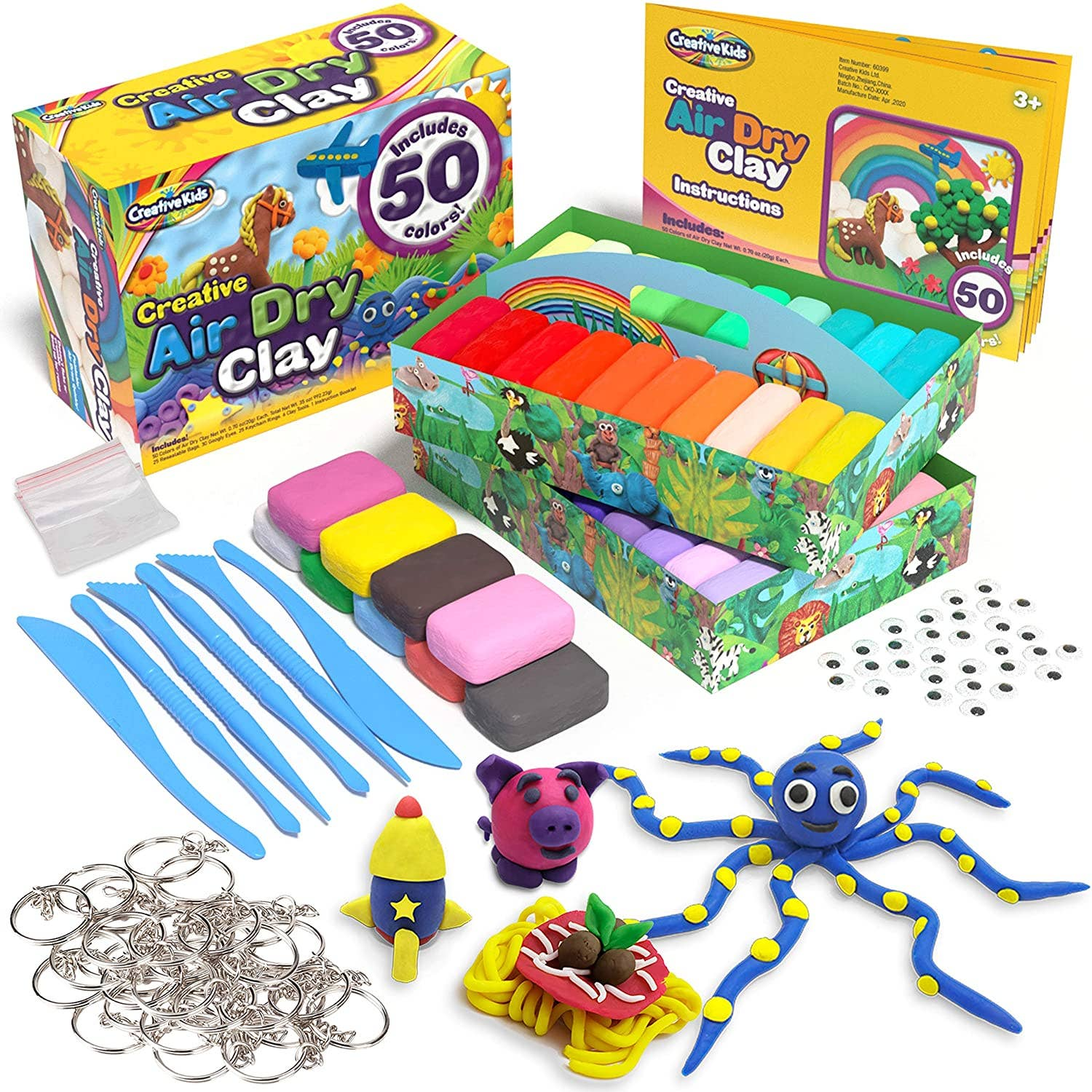 50 Pack Of Air Dry Clay Modeling Crafts Kit