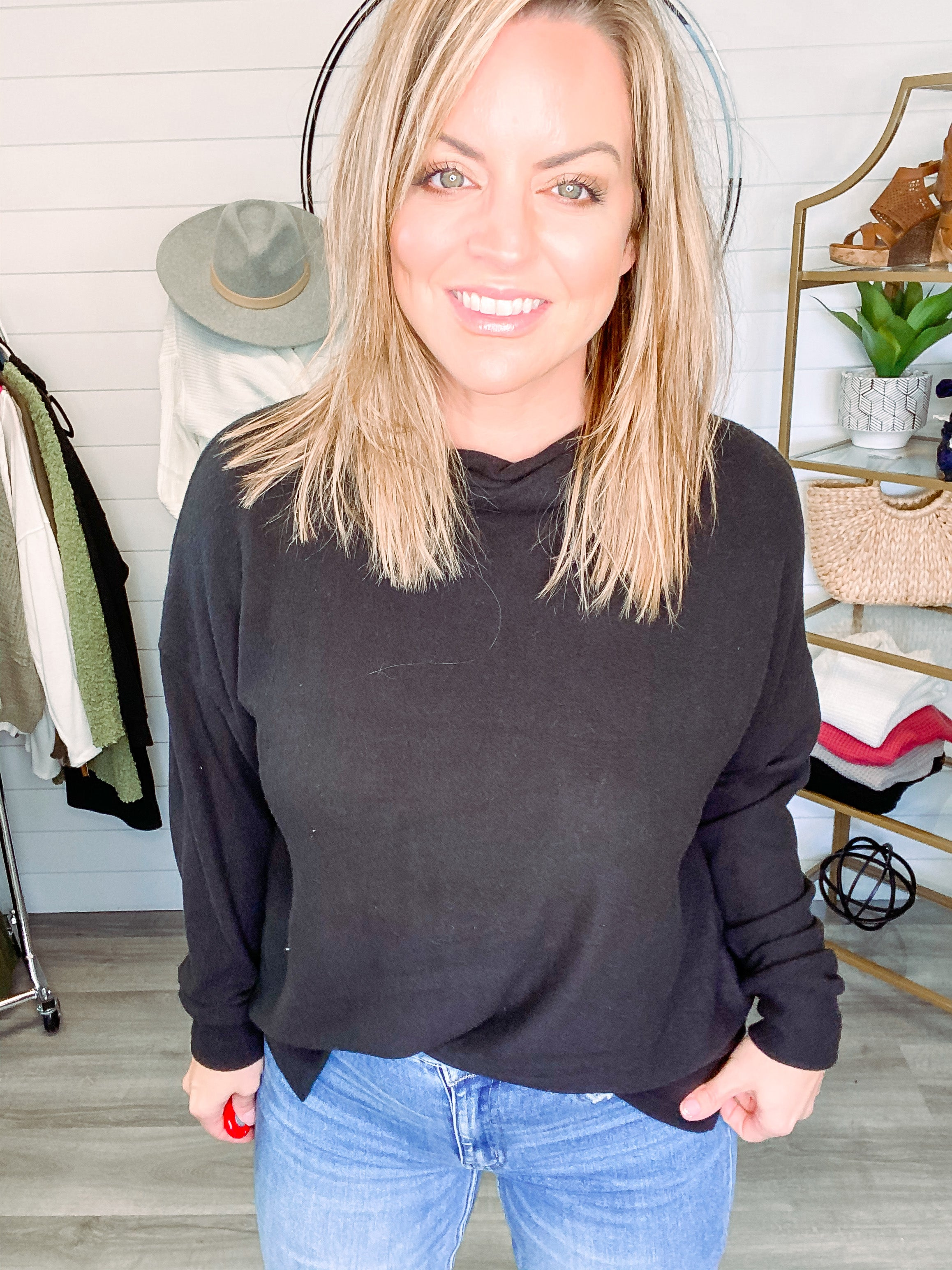 Brushed Turtleneck Top - Black (Plus + Reg)