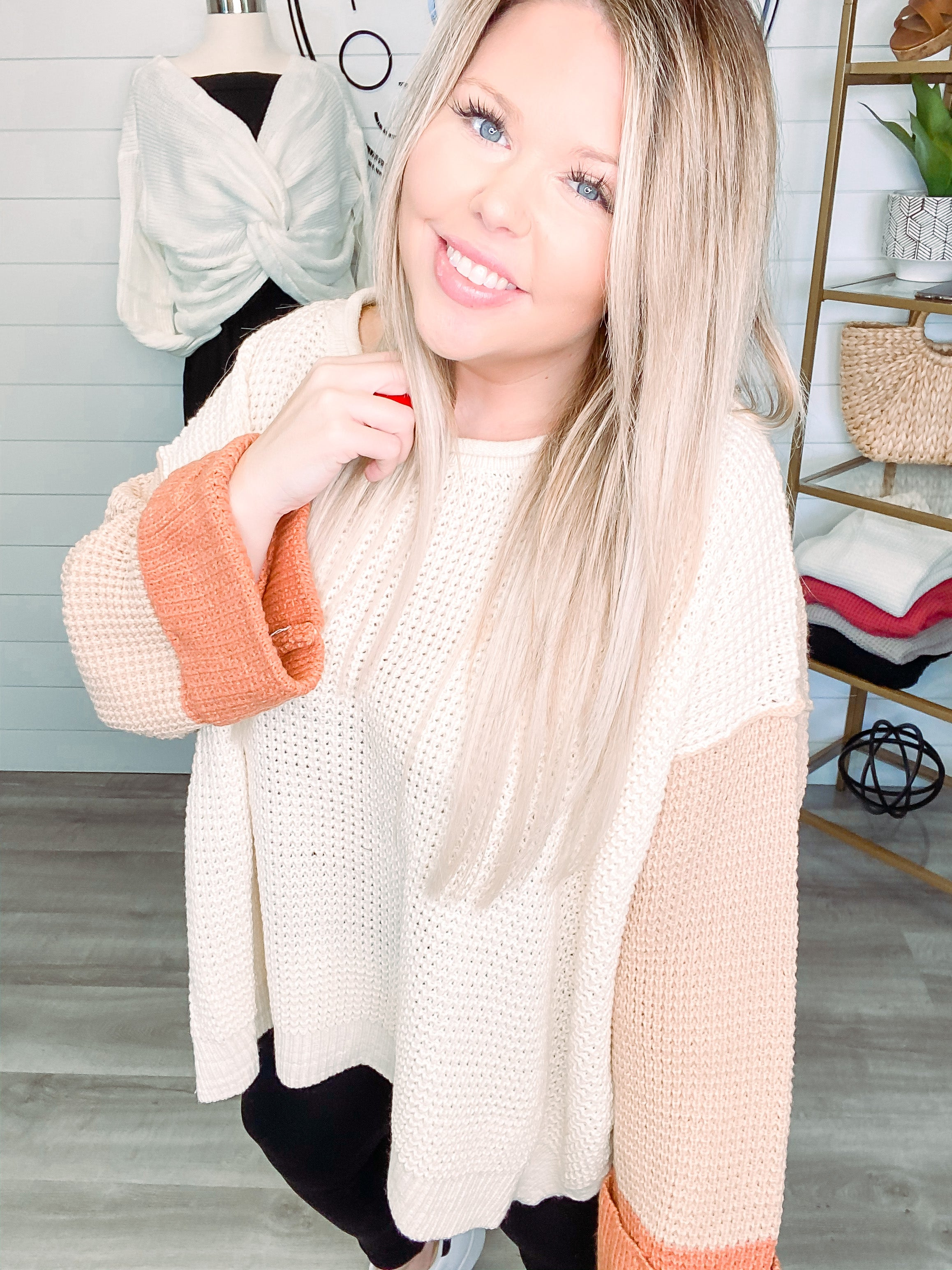 Comfy and Cozy Knitted Sweater- Blush